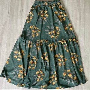 Long green floral skirt